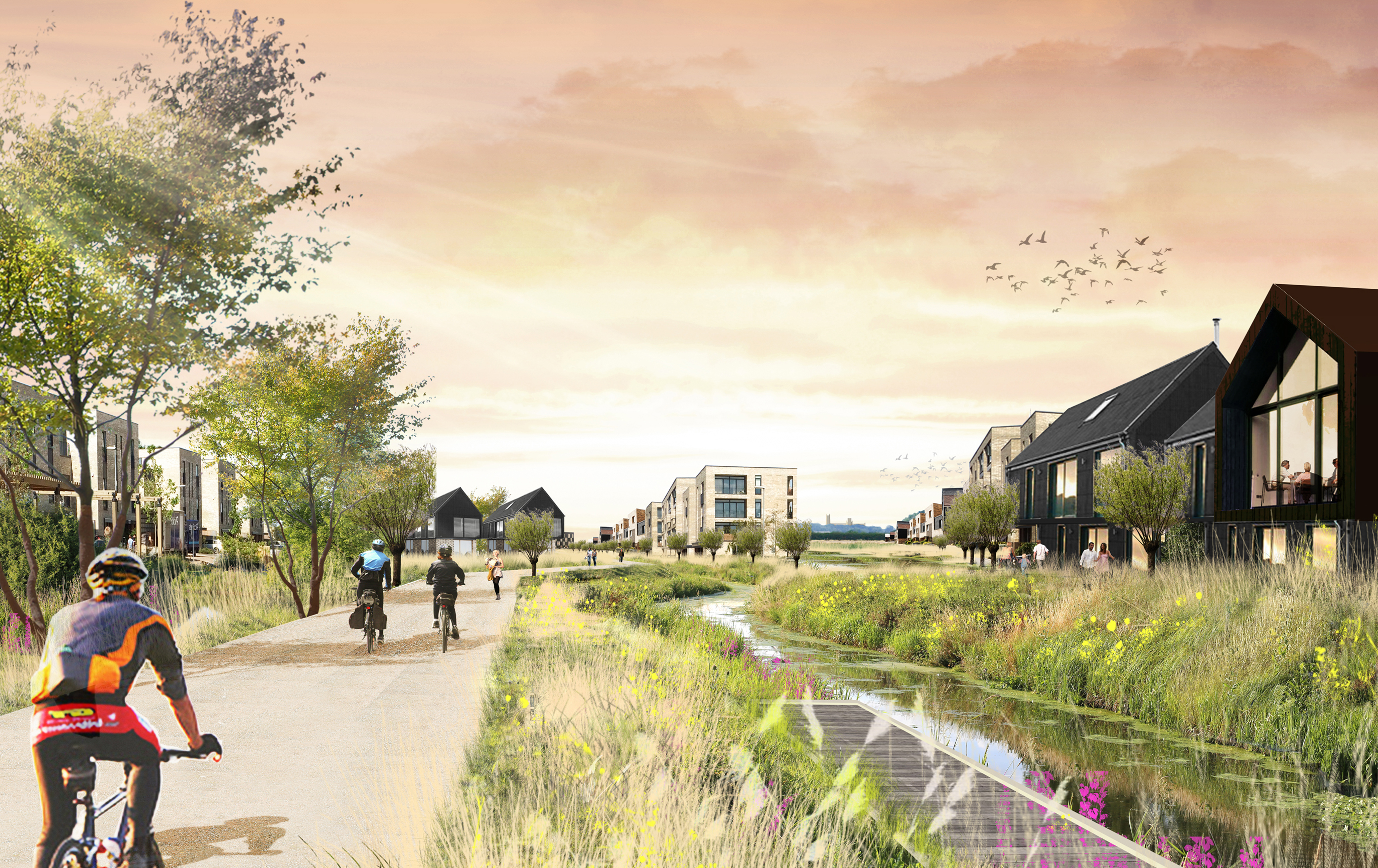LDA Design's car-free vision for a new town at Waterbeach reimagines what residential streets can offer. It is a first for UK housing at scale.