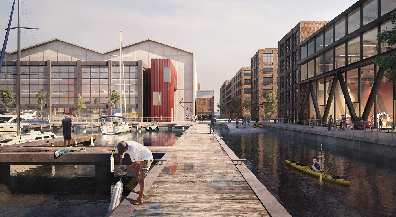 Albert Island, a proposed new shipyard on the River Thames. Image copyright Haworth Tompkins
