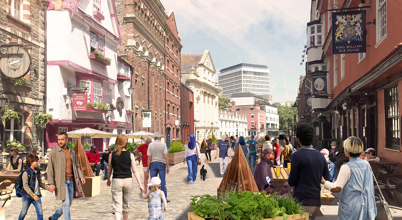 Moving fast during lockdown to pedestrianise historic King Street in Bristol