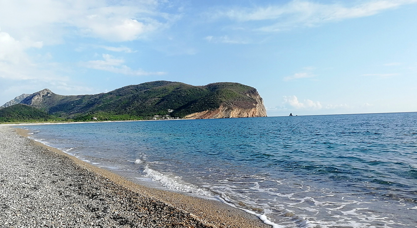 A stunning beach by the campsite in Montenegro